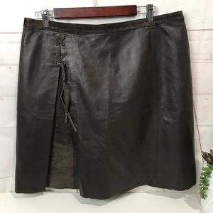 Willi Smith   lamb leather suede trim Brown  skirt